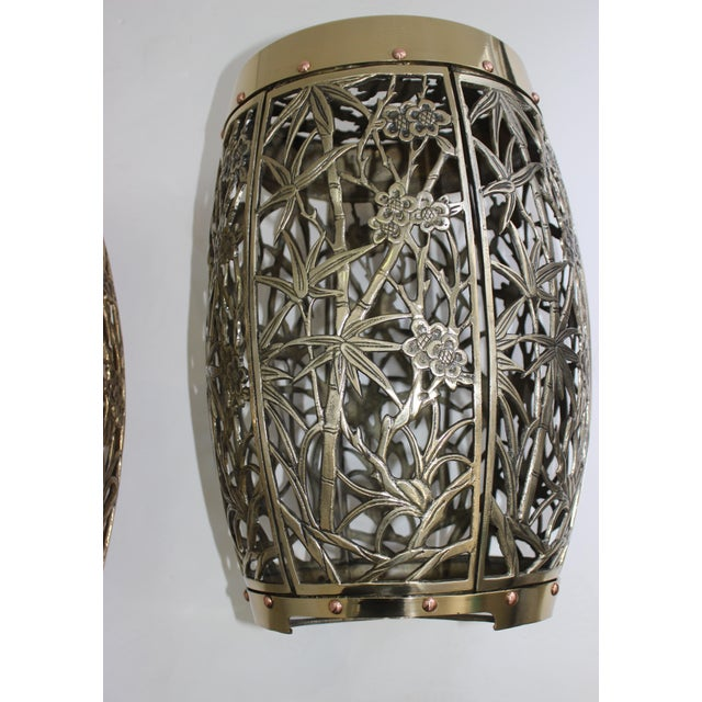 Brass Garden Stools Bamboo Crane Bird Cherry Blossom Motif in Polished Brass Fretwork - a Pair For Sale - Image 8 of 11