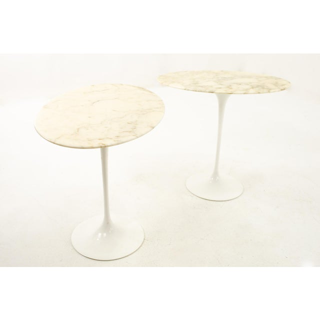 Knoll Mid Century Oval Marble Top Side End Tables with Tulip Base - Pair Each table measures: 22.5 wide x 15 deep x 20.5...
