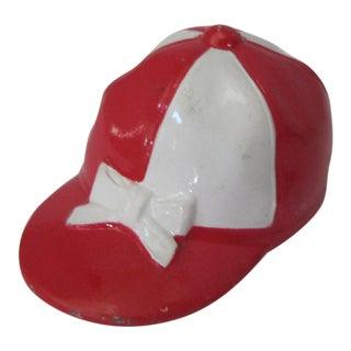 Vintage Red & White Jockey Cap Bottle Opener For Sale