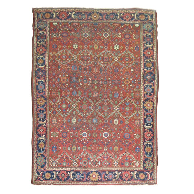 "Antique Persian Mahal Rug - 9'2"" X 13' For Sale"