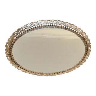 Small Hollywood Regency Style Oval Framed Mirrored Tray For Sale