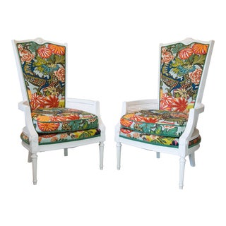 Vintage Caned Chairs in Schumacher Chiang Mai Dragon For Sale