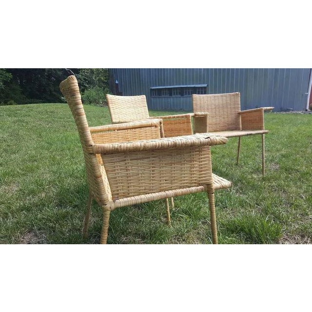 Metal Van Keppel and Green Wicker and Wrought Iron Chairs - Set of 3 For Sale - Image 7 of 11