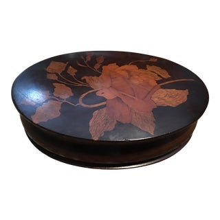 Wood Inlaid Floral Motif Box For Sale
