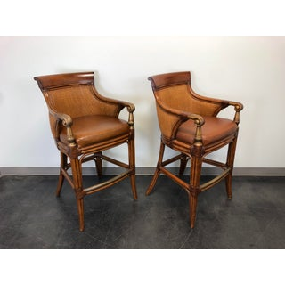 Ethan Allen Faux Bamboo Rattan Barstools - Pair Preview