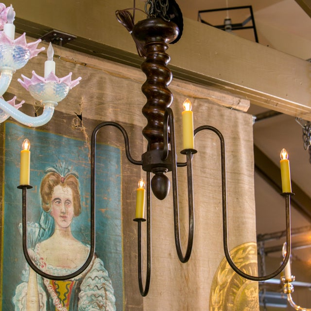 Contemporary Wooden Barley Twist Iron Arm Chandelier For Sale - Image 3 of 8