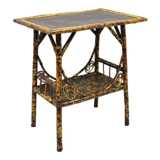 19th Century Victorian Burnt Bamboo Plant Stand Side Table For Sale