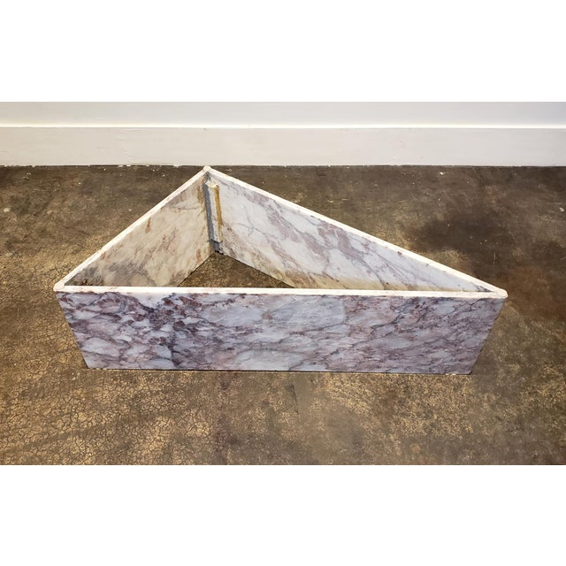 Stone 1970s Triangular White Marble Italian Coffee Table For Sale - Image 7 of 11