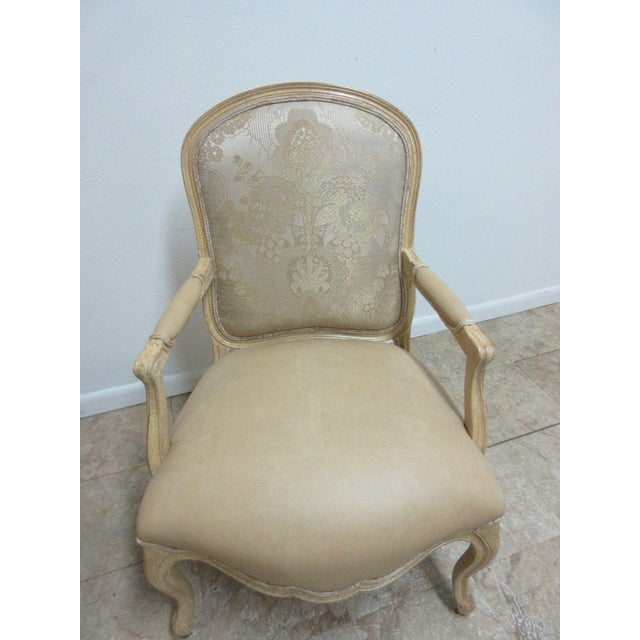 1990s Vintage Louis XV Custom Leather Italian Carved Fireside Lounge Club Chairs - a Pair For Sale - Image 5 of 10