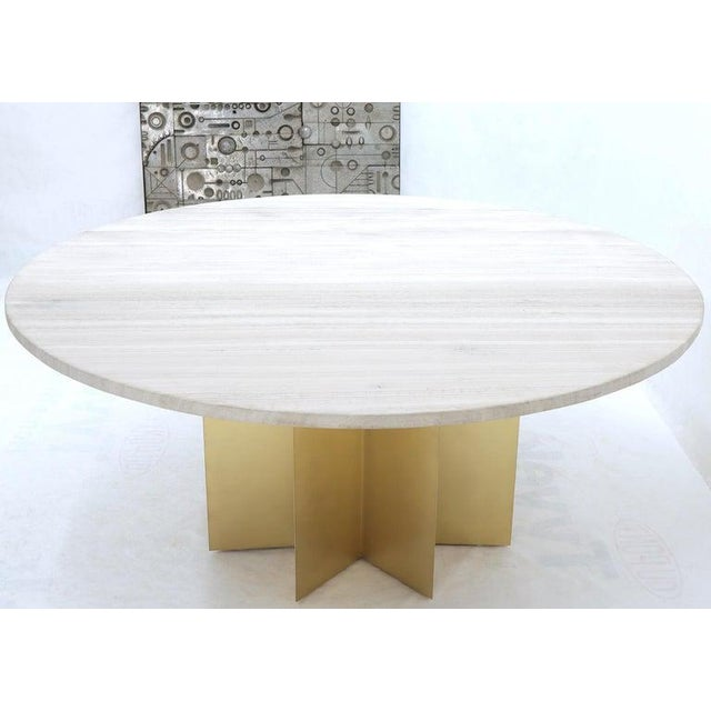"""72"""" Diameter 1"""" Travertine Marble-Top Round Dining Conference Table Star Base For Sale - Image 4 of 13"""