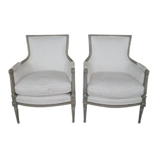 19th Century Vintage Louis XV Bergere Arm Chairs- a Pair For Sale
