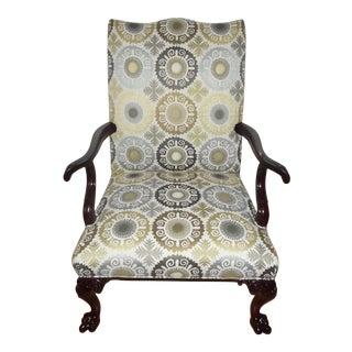Antique English Gainsborough Style Library Armchair For Sale