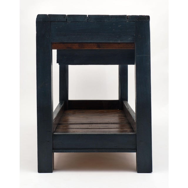 Blue Antique Italian Blue Painted Work Table For Sale - Image 8 of 10