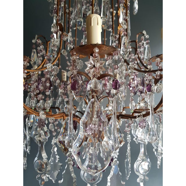 Crystal Crystal Chandelier Antique Ceiling Lamp Murano Florentiner Lustre Art Nouveau Purple For Sale - Image 7 of 11