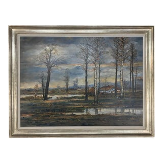 Grand Mid-Century Framed Oil Painting on Canvas by Fr. De Roover For Sale
