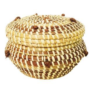 Vintage Lidded Coil Basket