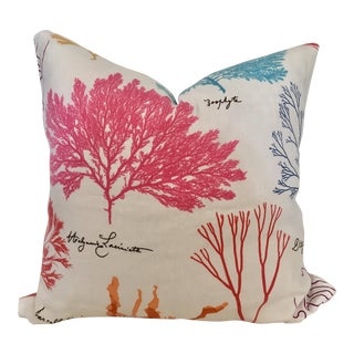 "Nautical / Coastal Coral Print Pillow 24"" X 24"" For Sale"