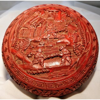 Chinese Cinnabar Carved Red Lacquer Over Timber Box Preview