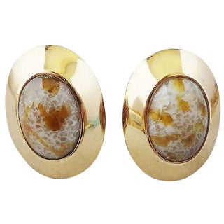 1960s Napier Cabochon Faux-Agate Rhinestone Earrings For Sale