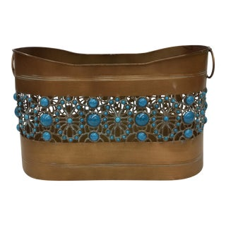 Boho Chic Metal Bucket Magazine Holder