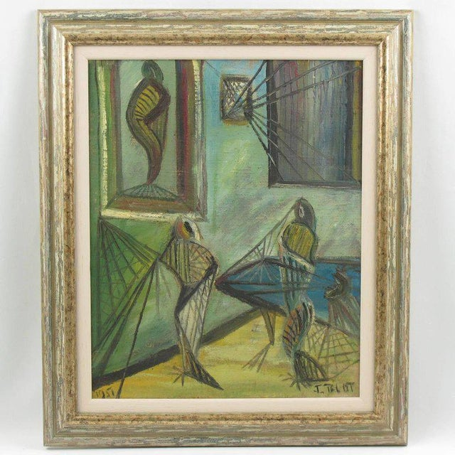 """J. Blot (France, 20th century). Acrylic paint on canvas painting featuring sort of """"spider web"""", in a modernist interior..."""