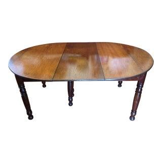 Antique 1860 Black Walnut Extendable Farm Dining Table For Sale
