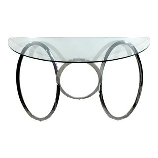 Mid-Century Modern Half Moon Demilune Chrome Circle Base Console Table by Milo Baughman For Sale