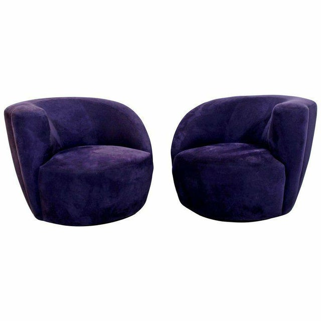 1980s Vintage Contemporary Vladimir Kagan Corkscrew Swivel Chairs- A Pair For Sale - Image 9 of 9