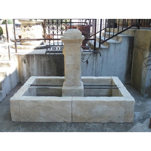 Rectangular 2 Spout Limestone Center Fountain From Provence For Sale - Image 10 of 10
