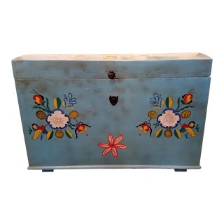 1900s Cottage Hand-Painted Blue Trunk For Sale