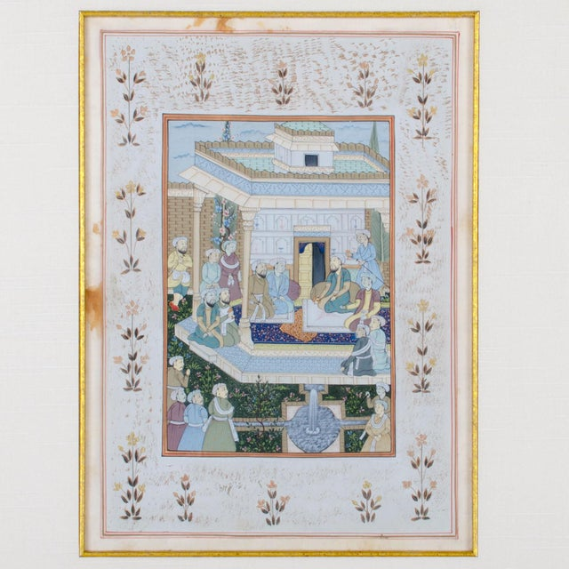 Mughal School Painting on Silk - A Pair For Sale - Image 5 of 7