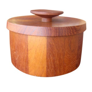 Vintage Jens Quistgaard for Dansk Teak Ice Bucket With Tongs For Sale
