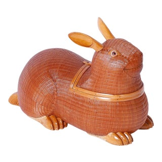 Mid-Century Wicker and Wood Rabbit Sculpture or Box For Sale
