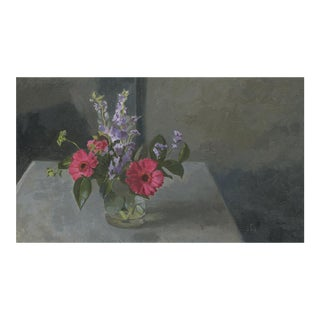 Original Bouqet of Pink Gerberas Still Life Oil Painting