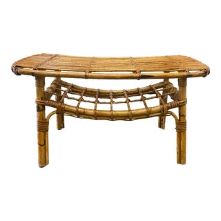 Vintage Italian Bamboo Side Table For Sale