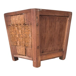 Clara Porset Mahogany Wood Wicker Waste Basket Planter Jardinière For Sale