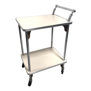 Mid Century Diner Style Chrome Laminate Bar Cart Server For Sale