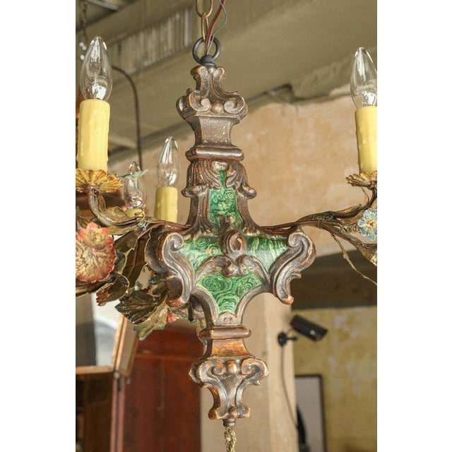 Small Faux Malachite Chandelier For Sale In Houston - Image 6 of 7