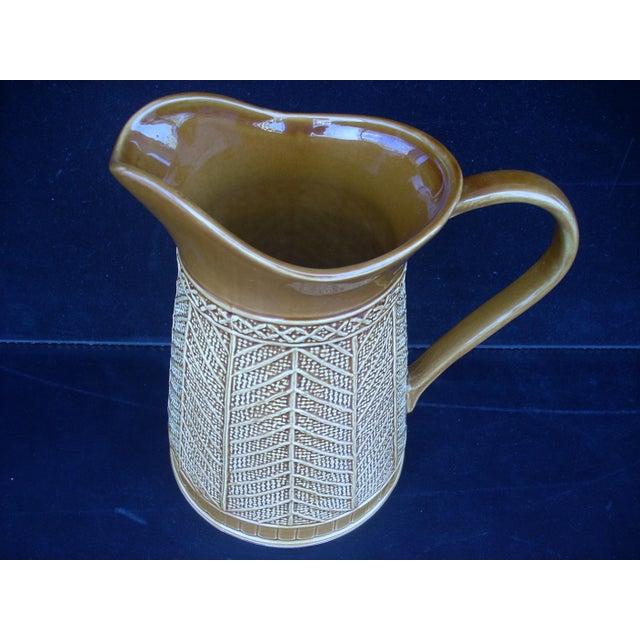 """Stoneware """"Rattan"""" Pattern Pitcher - Image 2 of 5"""
