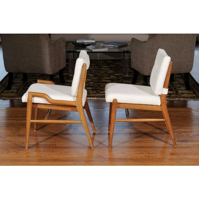 Fabric Chic Restored Set of Eight Cerused Mahogany Dining Chairs by John Keal For Sale - Image 7 of 11
