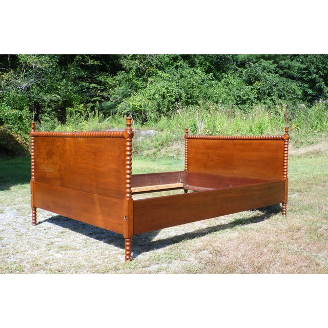 """Antique Solid Hardwood Double Full Size Jenny Lind Spool Bed Tulip Finials Daybed Solid Walnut or Chestnut 16"""" wide plank..."""