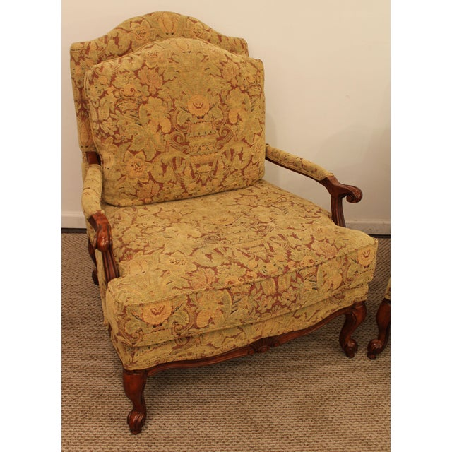 Ethan Allen French Country Lounge Chairs - A Pair - Image 5 of 11