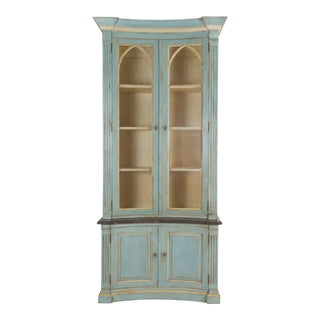 Swedish Gustavian Style Blue Painted Bookshelf Cabinet Bookcase by Lillian August For Sale