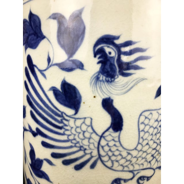 """Ceramic Chinoiserie B & W Phoenix Porcelain Ginger Jar 11.75"""" H For Sale - Image 7 of 8"""