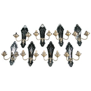 French Etched Floral Mirrored Sconces - Set of 8 For Sale