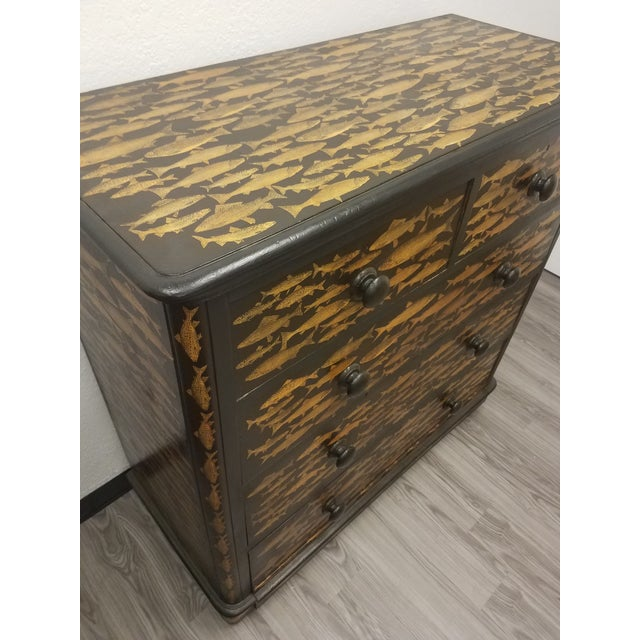 Antique English Fish Decoupage Chest of Drawers For Sale - Image 4 of 13