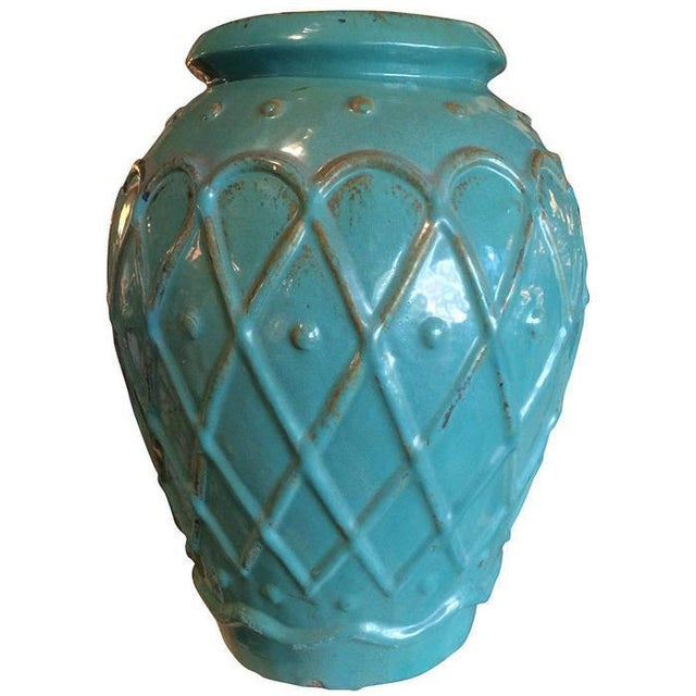 A fine large-scale turquoise glazed art pottery jar by Galloway Terracotta Co., Philadelphia. With raised cross hatched...