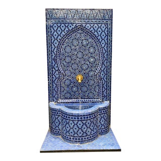 Blue Moroccan Tile Wall Fountain For Sale