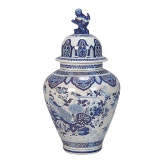 Early 20th Century Blue and White Dutch Vase with Foo Dog Lid