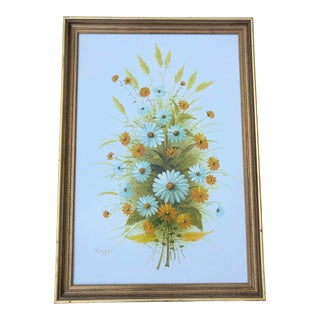 Late 20th Century Bouquet of Flowers Oil Painting For Sale